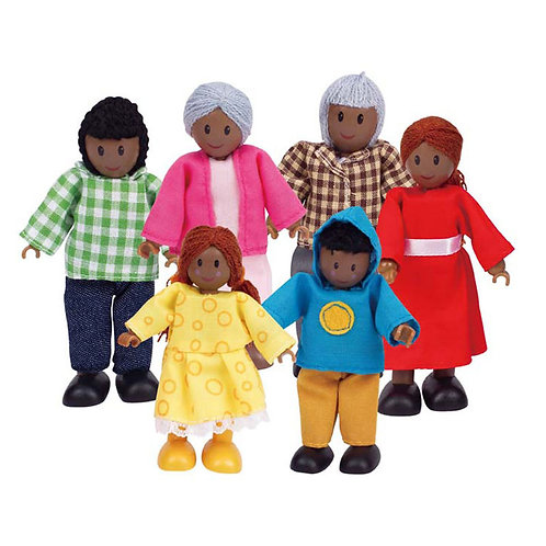 Hape Happy African Wooden Doll Family x 6