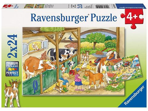 RavensburgerPuzzle: (2 x 24 pc) A Day at the Farm
