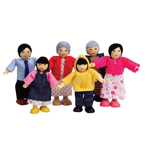 Hape Happy Wooden Doll Family x 6 ~ Asian