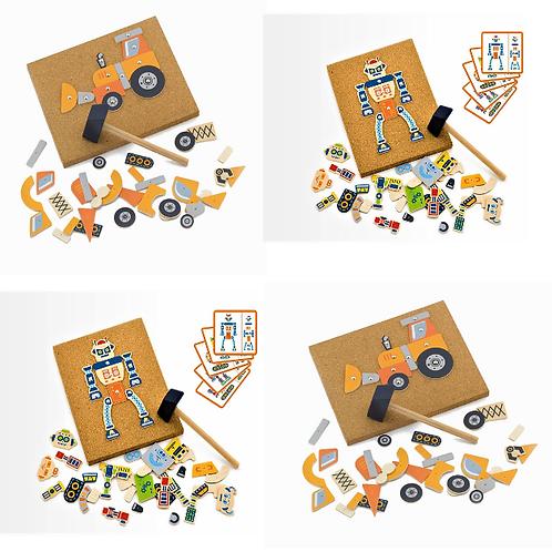 2 x Tap Tap Robot & 2 x Construction 4 pc Set