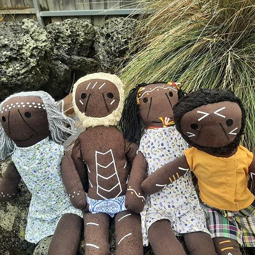 4 pc Set of Aboriginal Dolls - 2 X Female 2 X Male