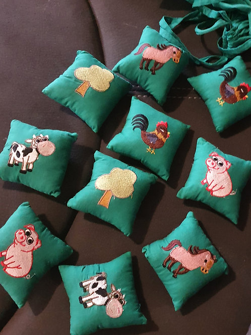 Farm Barn Embroidered- Mix an Match Memory Game