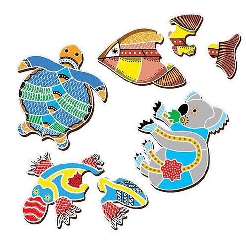 Australian Aboriginal Art Table Puzzles. Assorted animal.