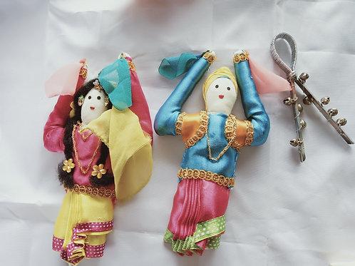 Dancing Punjabi Boy & Girl dolls/puppets in Traditional Costume
