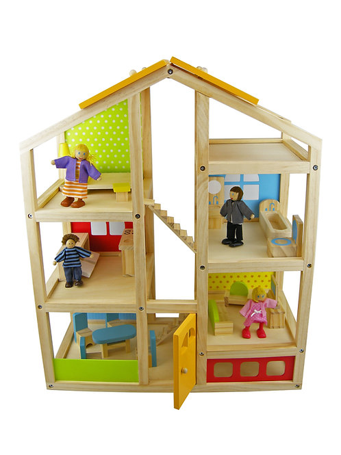Multi Level Wooden Doll House - With Furniture and Figurines
