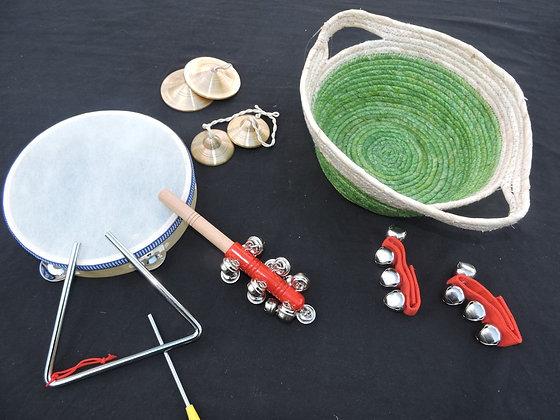 7 Piece Musical Instruments Set in a basket