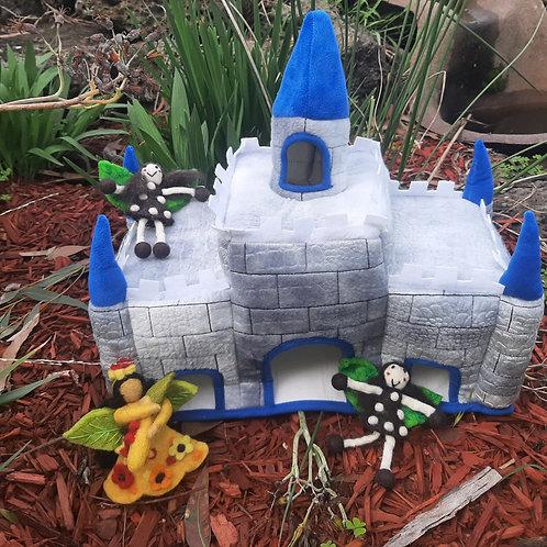 Blue Felt Castle House with 2 Fairies