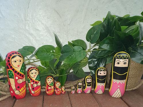 Set of 2 Hand-Painted Babushka Doll