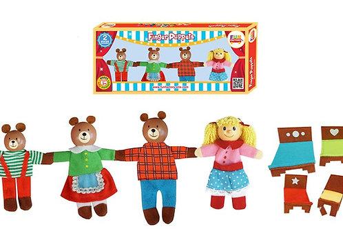 Goldilocks & Three Bears Finger Puppets 8 Pc Set