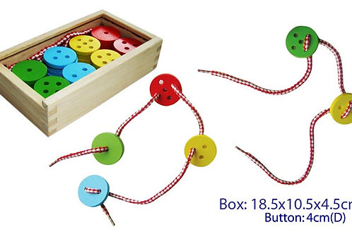 Wooden Lacing Buttons 40pc