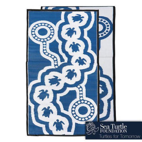 LITTLE TURTLE Aboriginal Design Recycled Mat, Blue & White