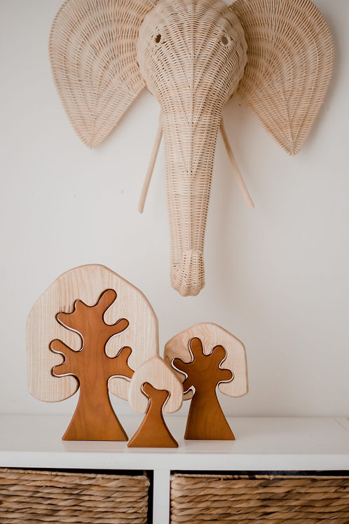 Two Toned Wooden Trees