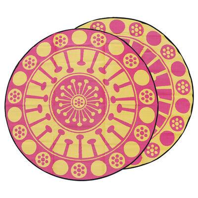 EUCALYPTUS FLOWER Aboriginal Design Recycled Mat, Yellow & Pink 3.0m