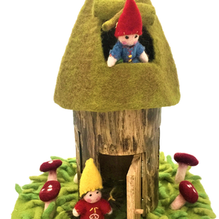 PAPOOSE - Wooden Summer Fairy House with Felt Roof