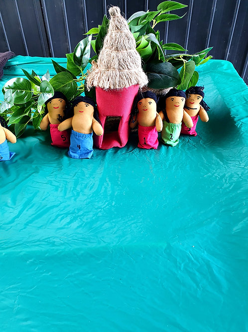 1-10 Numbered multicultural  Dolls/puppets with a teepee