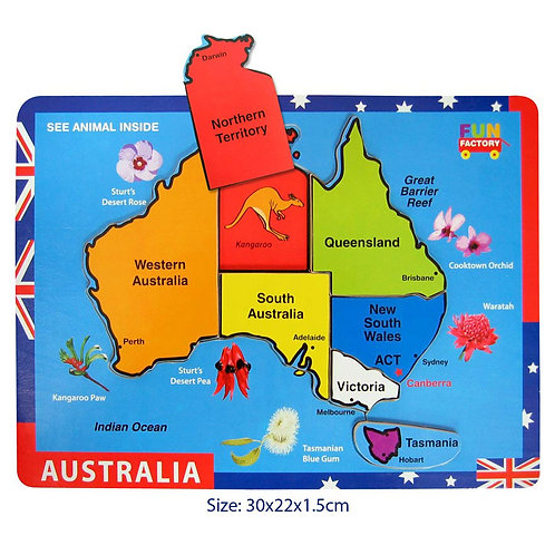 Raised Australia Map Puzzle with hidden image