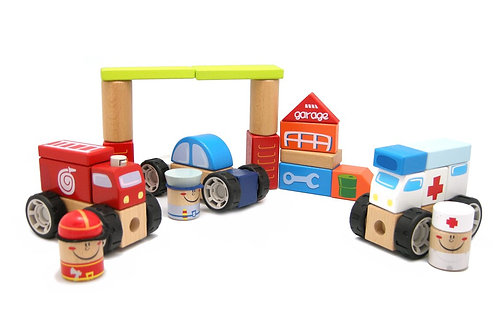 Top Bright Wooden Emergency Vehicles City Building Blocks 42 pc