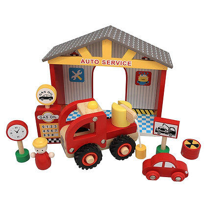 Wooden Gas Station Pretend Playset