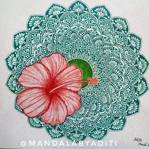 Hibiscus & Blooming Mandala Original Painting