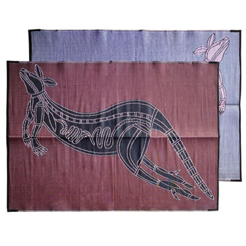 Xray Kangaroo   Burgundy & Black 1.8x2.7m Aboriginal Design Recycled Mat,