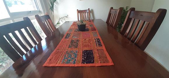 Multi-Coloured Handmade Table Runner 120cm x 40cms - Orange