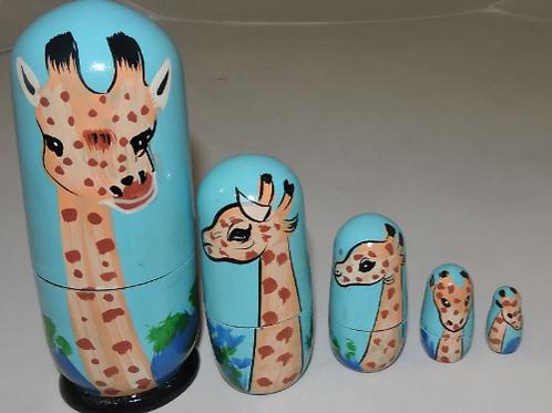 5 in 1 Giraffe Babushka Doll