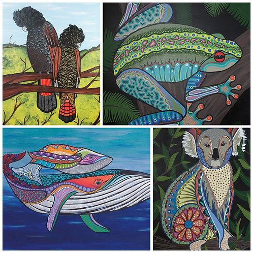 Australian Puzzle Set - Koala, Humpback Whale, Banks Cockatoo, Green Tree Frog