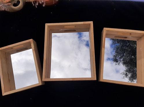 Rectangular Mirror Trays Set of 3