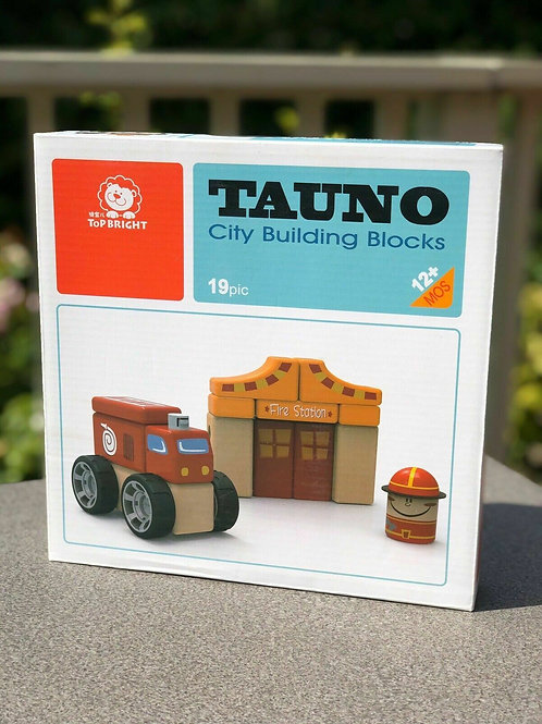 Top Bright Wooden City Building Block Set - Tauno - 19pc's
