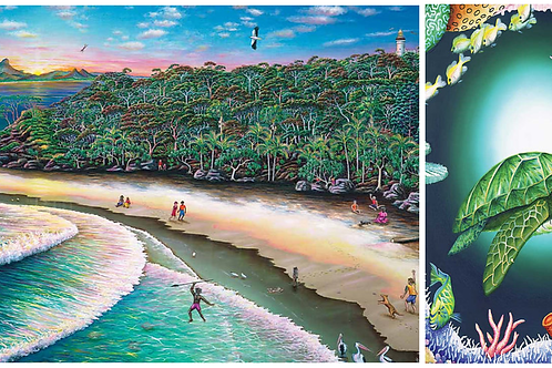 Peace Turtle Puzzle & The Pass at Byron Bay 2 PC Set Puzzle