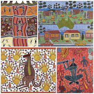 Set of 4 - A3 Size Australian Made Koori Artwork Puzzles A3 12-24pc