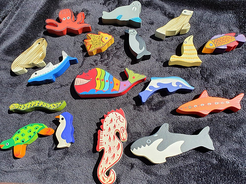 Buy 1 get one free Wooden Hand Painted Sea Animals
