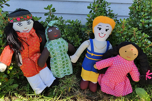 4 Pc Multi-Cultural Doll Set - 1