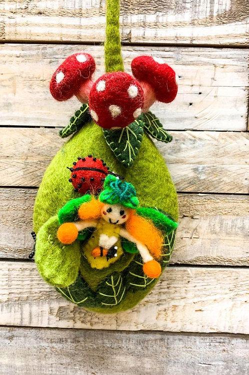 Toadstool & Ladybird Flying Fairy Home