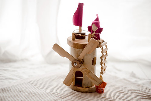 Wooden Windmill with 2 Gnomes