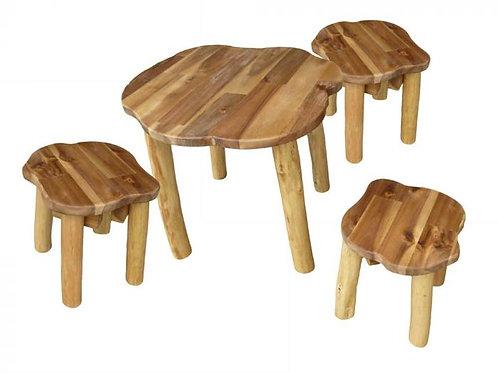 Hardwood Tree Table and 3 Stools