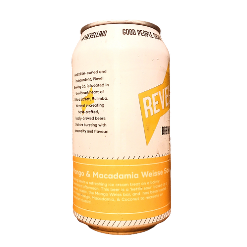 Revel Brewing Co Mango & Macadamia Weisse Sour 3.5% Can 375mL