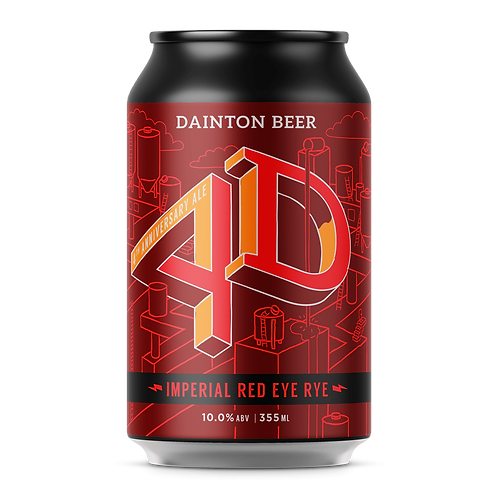 Dainton Brewery 4D Imperial Red Rye IPA 10% Can 355mL