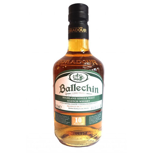 Ballechin 10 Year Old Heavily Peated Single Malt Scitch Whisky 44% 700mL