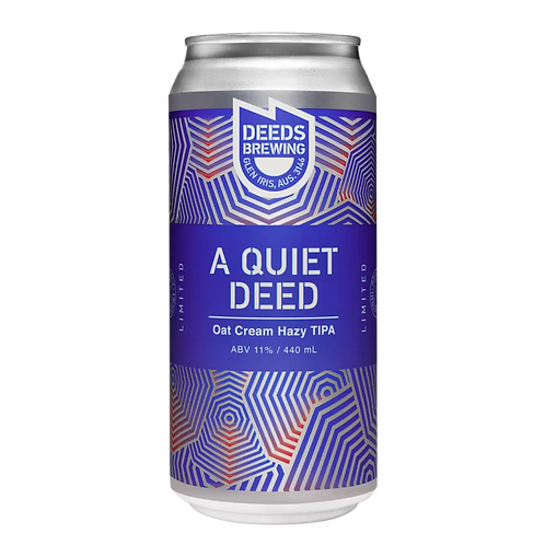 Deeds Brewing A Quiet Deed Oat Creamy Hazy TIPA 11% Can 440mL