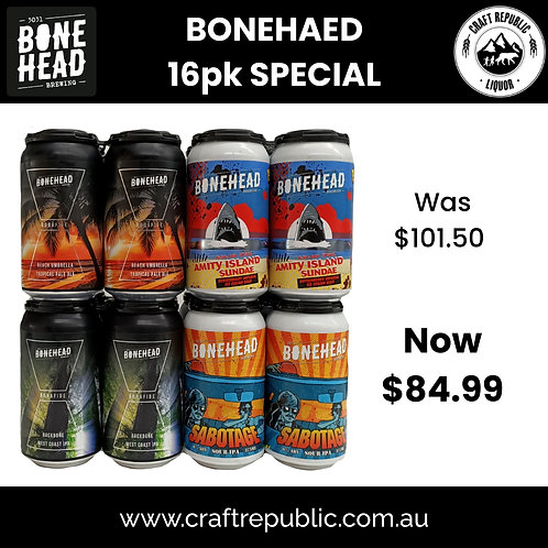 """Bonehead Brewing """"Support Local in 2021"""" Pack 16 x 375mL"""