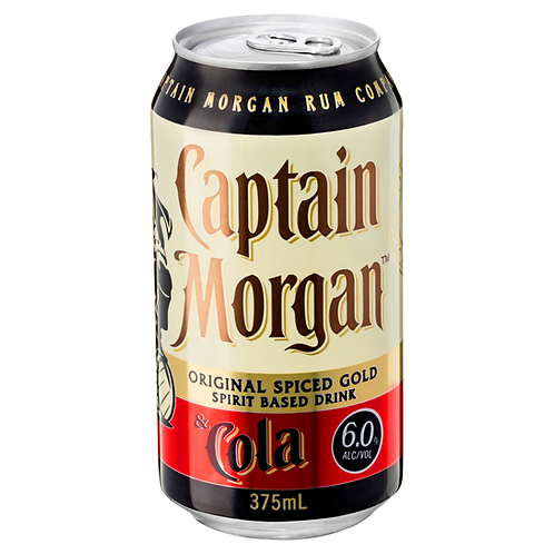 Captain Morgan Spiced Rum & Cola 6% Can 375mL