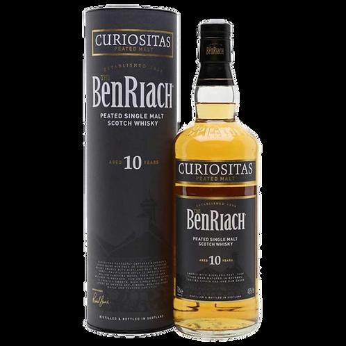 The BenRiach Curiositas Peated Malt 10 Year Old Scotch 46% Btl 700mL