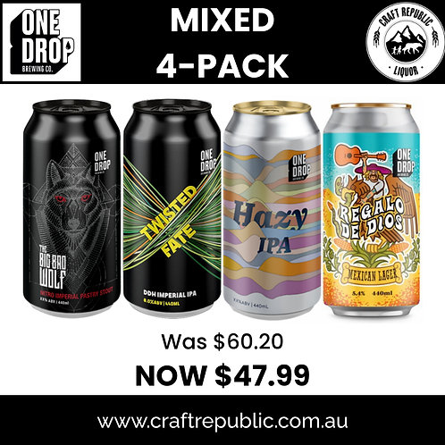 Great Tastes from One Drop Brewing Co 4pk 440mL