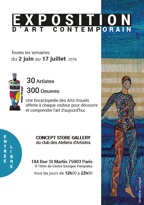 La galerie éphémère  du Club des Ateliers d'Artistes  Concept Store Gallery Beaubourg - Paris 3è