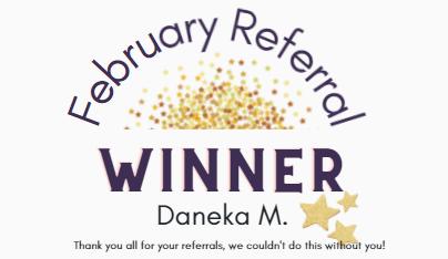 February referral winner for referring clients