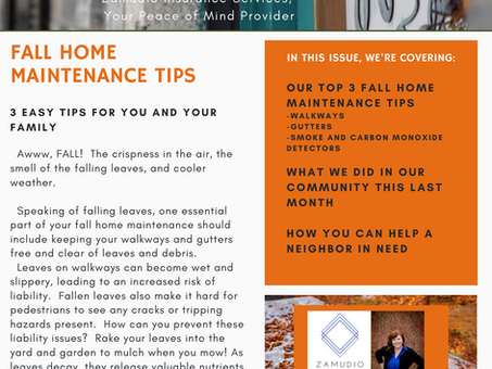 Hello Fall - Top 3 Colorado Fall Home Maintenance Tips, How To Help A Neighbor In Need, Agency News