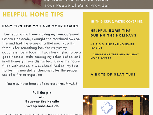 Giving Thanks - Fire Extinguisher Safety, Holiday Light and Safety Tips, and A Note of Gratitude