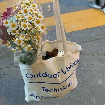 Outdoor Voices bag with flowers