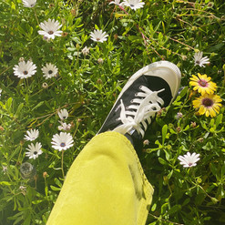 Yellow pants with yellow flowers